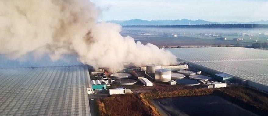 Complexo de estufas na Colúmbia Britânica antes propriedade da gigante Canopy Growth pegou fogo em 2020 (Foto cortesia Delta/MJBizDaily)