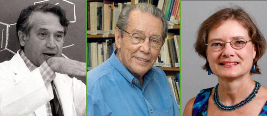 Montagem com fotos dos doutores Raphael Mechoulam (E), Elisaldo Carlini (C) e Allyn Howlett (D)